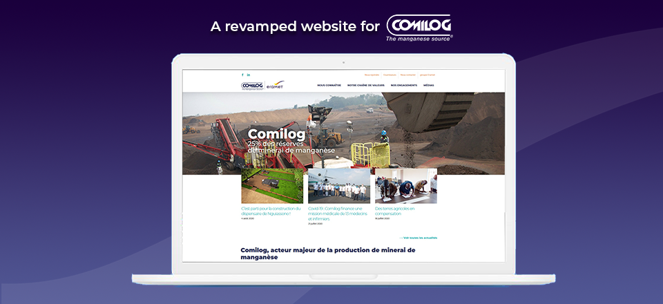 Screenshots of Comilog's new website homepage