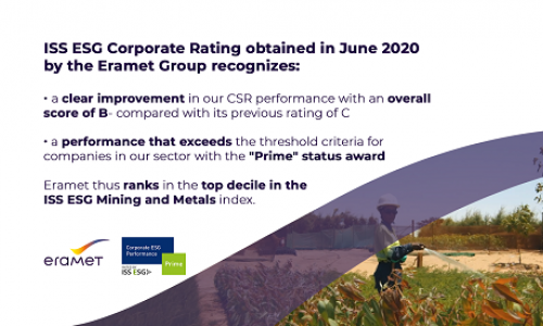 Image with the key points of the Eramet Group's CSR rating by ISS ESG