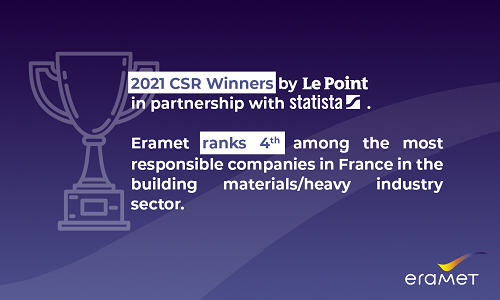 Visual representing Eramet's ranking in Le Point and Statista's list of 250 Socially Responsible Companies 2021